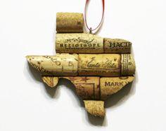 state ornament - texas ornament - cork ornaments - wine cork ornaments - wine gifts - christmas ornaments - window ornament - ornaments