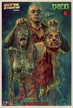 Artwork by Graham Humphreys for the double screen of The Return of the Living Dead and Re-Animator