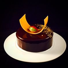 Entremet of the day.  Caraibe , coconut and hazelnut spons, by Pastry Chef Antonio Bachour