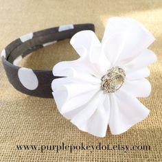 Gray and White Polka Dot Fabric Headband with White Jumble