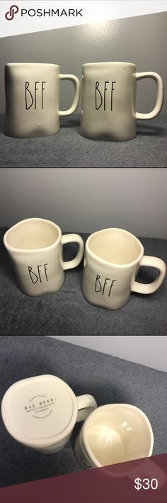 """Rae Dunn BFF Best Friends Forever Mug Set Brand New, Never Used. Set of 2 Rae Dunn """"BFF"""" Best Friends Forever Mugs by Rae Dunn by Magnolia. Item in photo is the exact item you will receive. All Rae Dunn items are handmade which may result in minor imperfections, also making every piece 100% unique! Check Out My other Rae Dunn items to bundle and I'll give you a deal and you'll also save on shipping! ✨💕 -Experienced Rae Dunn Buyer/Seller and will guarantee your item will be packaged safely…"""