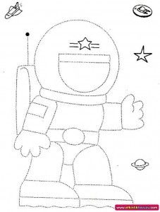 astronaut trace for kids