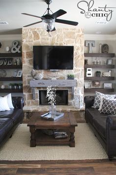 Terrific Free Stone Fireplace with built ins Thoughts How to Build and Hang a Mantel on a Stone Fireplace – Shanty 2 Chic Fireplace Remodel, Room Makeover, Home Living Room, Room Design, Home, Home Fireplace, Family Room Design, Fireplace Bookshelves, New Homes