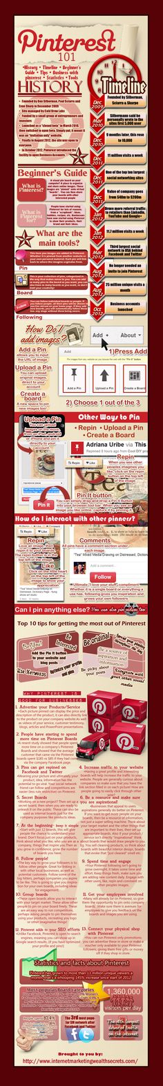 An information packed infographic featuring Interesting background/history of #Pinterest + tips for success #infographic #socialmedia