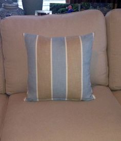 Light blue and Ivory stripe Pattern with SelfWelting by kdHOMEofCT, $45.00