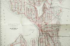 Vintage Map of Seattle Century Savings and by MicroscopeTelescope