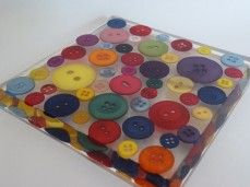 Button Square Coaster -