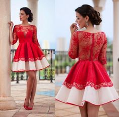 Half Sleeve homecoming Dress,Red Homecoming dresses,See-through Short Lace Homecoming Gowns,Short Prom Dress from simibridaldresses Trendy Dresses, Cheap Dresses, Sexy Dresses, Short Dresses, Dresses 2016, Lace Dresses, Dress Long, Sleeve Dresses, Evening Dresses