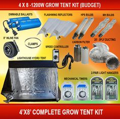 4 X 8 - 1200W Grow Tent Kit (Budget) Pk21 | Grow tent Led grow lights and Led grow  sc 1 st  Pinterest & 4 X 8 - 1200W Grow Tent Kit (Budget) Pk21 | Grow tent Led grow ...