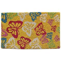 Butterflies Coir Doormat by Imports Umlimited. $36.98. Made with fade resistant dyes. Hand Woven in India 100% natural coir. Durable and Easy to Maintain. Beautiful and Modern Design Coir Doormat. 3/4 inch thick coco doormats. Butterflies Coir Doormat A Stylish And Durable Design The perfect way to decorate the entryway to your home with one of our elegant coir doormats. These doormats are hand woven in India from robust coconut bristles, the mat offers exceptional durabili...