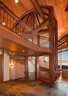 modern timber post and beam home interior  -stunning-