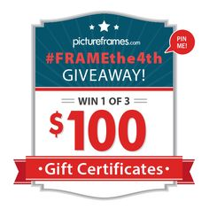 Repin this image with #FRAMEthe4th to enter to win 1 of 3 $100 pictureframes.com gift certificates. No purchase necessary. Giveaway ends 7/6/14. See official rules for details: http://www.pinterest.com/pin/486459197223351847/. Bonus: Click through to browse hundreds of our American Made frames!