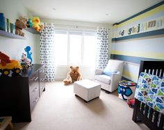 Toddler Rooms Design, Pictures, Remodel, Decor and Ideas - page 5- like the stripes on one wall.....maybe not the colo combo but the different widths