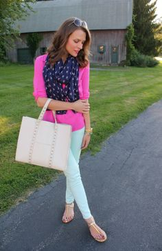 loving the mint, pink and navy combo from Penny Pincher Fashion