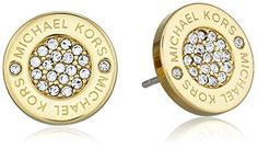 Michael Kors Tone Logo Pave Stud Earrings ** Find out more about the great product at the image link.