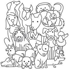 This design's gone to the dogs! Adorable pups pile up and play. Downloads as a PDF. Use pattern transfer paper to trace design for hand-stitching.