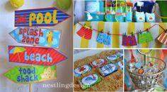 Beach or Pool Party Printable DIY Package PDF by NestlingDesigns, $20.00