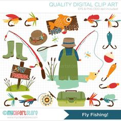 Father's Day / Fly Fishing Clip Art / Digital Clipart - Instant Download: