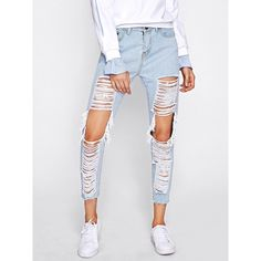 SheIn(sheinside) Extreme Distressing Ripped Knees Jeans ($21) ❤ liked on Polyvore featuring jeans, white torn jeans, white ripped jeans, ripped jeans, distressed straight-leg jeans and summer jeans