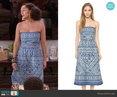 Rainbow's blue and white printed strapless dress on Black-ish.  Outfit Details: https://wornontv.net/57300/ #Blackish