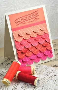 Layered Scalloped Border Cut Die Card ~ Papertrey Ink ~ Video tutorial (no sewing involved)