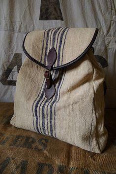 Vintage Hungarian Grain Sack Rucksack