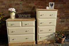 Plain pine drawers painted in cream eggshell and sparkly handles added