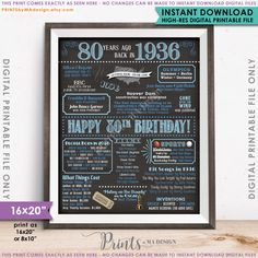 """80th Birthday 1936 Printable Chalkboard Style Poster -- A fun birthday poster filled with facts, events, and tidbits from 1936. Makes an excellent gift or party decoration! *** DIGITAL PRINTABLE FILE ONLY! No physical prints will be sent *** • INSTANT DOWNLOAD! Simply order, download, print and enjoy! The print comes as seen in the previews – no changes can be made to Instant Download digital files. • 16x20"""" digital printable file. 16x20 can be printed as 16x20, 8x10 and 4x5 • Includes both…"""