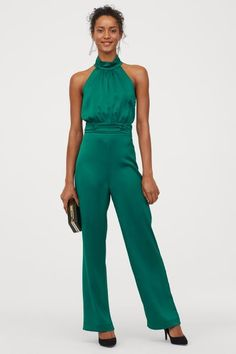 Satin jumpsuit - Emerald green - Ladies | H&M GB