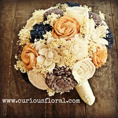 Image of Sola Flower Collection Bridal Bouquet- Ivory Gray Navy Orange, Bridesmaid Bouquet