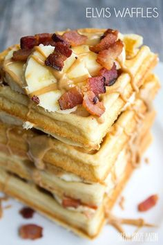 These Elvis Waffles are a towering stack of peanut butter banana and bacon goodness not even the king himself could resist! Crepes And Waffles, Pancakes And Bacon, Breakfast Waffles, Breakfast Dishes, Best Breakfast, Breakfast Recipes, Bacon Pancake, Dessert Recipes, Waffle Maker Recipes