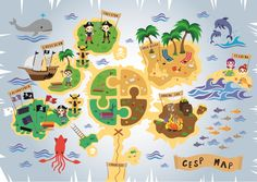 Mappa Attività Estive. La mappa per le attività estive del C.E.S.P di Nuoro (Centro Etico Sociale Pratosardo). #giuliabasolugrafica #graphic #illustration #drawing #illustrator #digitalart #vector  #maps