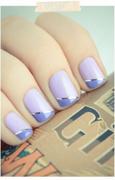 Purple nails Saw this in red, gold stripe, black tips.  Beautiful!