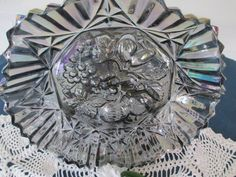 Vintage Smokey Gray Large Fluted Iridescent Fruit by BitofHope, $22.00