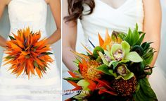 I would love to make a bouquet similar to this! flowers-for-unusual-wedding-bouquet-birds-of-paradise