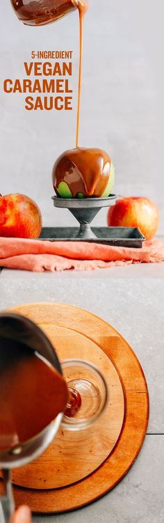 Pouring AMAZING Vegan Caramel Sauce onto an apple perched on a metal stand