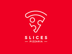 Slices Pizzaria Logo I really like this Logo because it uses a Bold solid color behind it (red) and it makes the white lettering and image stick out. I also like how the pizza image is made up of one line and a circle. This logo does a good job at represe http://jrstudioweb.com/diseno-grafico/diseno-de-logotipos/
