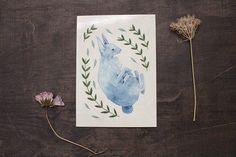 Animals – 1 Postcard - Blue Rabbit Illustration – a unique product by thebluerabbithouse on DaWanda