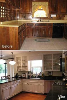 Kitchen Renovations Ideas On a budget DIY Kitchen Remodel Kitchen Redo, Kitchen Cabinets, Kitchen Ideas, White Cabinets, Kitchen Walls, Kitchen Themes, Corner Cabinets, Soapstone Kitchen, 1960s Kitchen