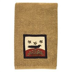 """Sunflower & Crow"" Hand Towel ~ Embroidered Terry cloth. Machine wash cold, tumble dry. Designed by Teresa Kogut. Dimensions: 28"" x 16"""