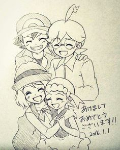 Ash Ketchum and his Kalos friends ^.^ ♡ I give good credit to whoever made this