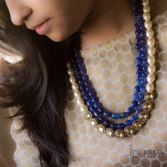 Simple but stunning, this necklace with a mix of blue beads and pearls making it a great combination. Available at Joules by Radhika #JoulesByRadhika #Jewellery #Necklace #MakeAStatement #Neckpiece #StatementNecklace #Beads #Blue #BlingBlue #BeadsAndPearls #SemiPrecious #Luxurious #WeddingJewellery #DesignerJewellery #IndianDesigner #RoyalBlue #Glam #Instalike #Instalove #Mumbai #India