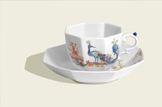 Cup and saucer, Chinese with dog and peacock, Limited Masterpieces