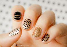 ✿ Gold & Black #nailart ✿