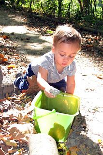 Peaceful Parenting: Infant and Young Toddler Montessori: Part One- love the idea of taking a bucket along on a nature walk to collect objects to explore at home
