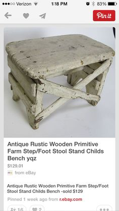 Antique Rustic Wooden Primitive Farm Step/Foot Stool - this is beautiful!