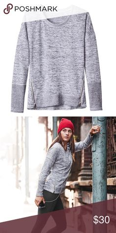 Athleta Blissful Sharkbite Sweatshirt Marled sweater with zippers down the side. Perfect to throw on post gym class. Athleta Sweaters Crew & Scoop Necks