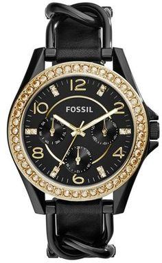 Fossil 'Riley' Crystal Bezel Leather Strap Watch, A rim of sparkling crystals frames the multi-function dial of a fancy round watch. A slender leather strap weaves through accenting chain links to complete the trend-right timepiece.
