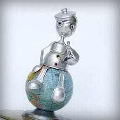 Pennies for Paris art assemblage sculpture ooak 99% by leuckit