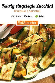 Regional & saisonal: Eingelegte Zucchini - 536 kcal - schnelles Rezept - einfaches Gericht - So gesund ist das Rezept: 8,4/10 | Eine Rezeptidee von EAT SMARTER | Einlegen, Einmachglas, Low Carb, Low Carb-Vegetarisch, Vegan, Vegetarisch, Vitaminreich, Sommer, Scharf, Einkochen, Gemüse, Gewürze, Vorspeise, Beilage #blütengemüse #gesunderezepte